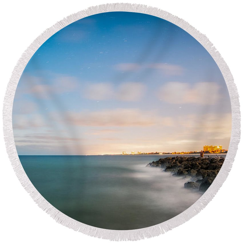 Sunrise Round Beach Towel featuring the photograph Sunrise Ft. Pierce Inlet by Clyde Scent