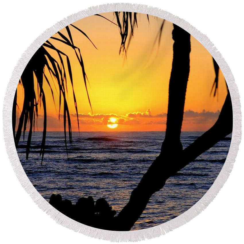 Seascape Round Beach Towel featuring the photograph Sunrise Fuji Beach Kauai by Mary Deal