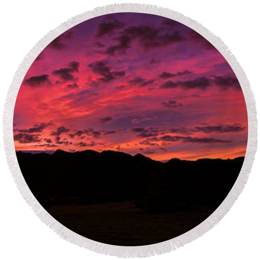 Sunrise Round Beach Towel featuring the photograph Sunrise In The Foothills by Robert Bales