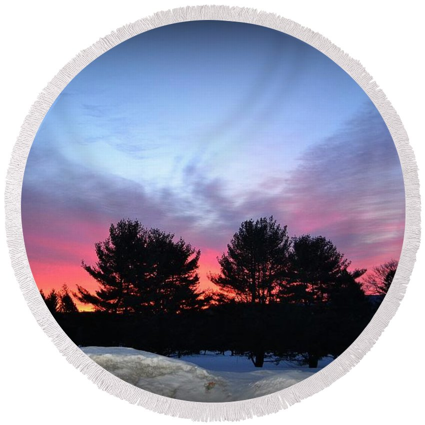 Snow Round Beach Towel featuring the photograph Sunrise by Julie Street
