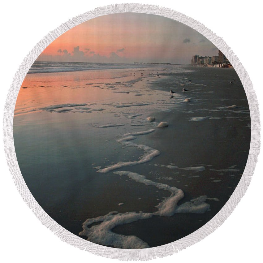 Beach Round Beach Towel featuring the photograph Sunrise On Daytona by Shirley Roberson