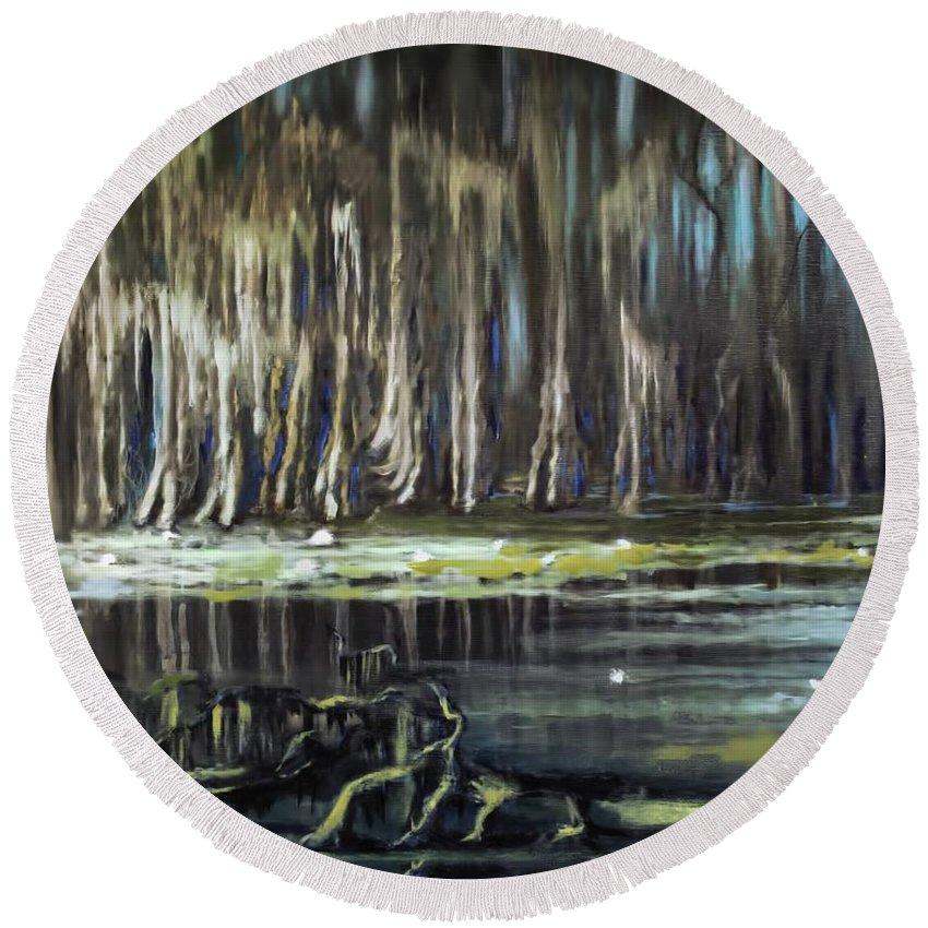 Sunrise On The Bayou Round Beach Towel featuring the painting Sunrise On The Bayou by Melissa Herrin