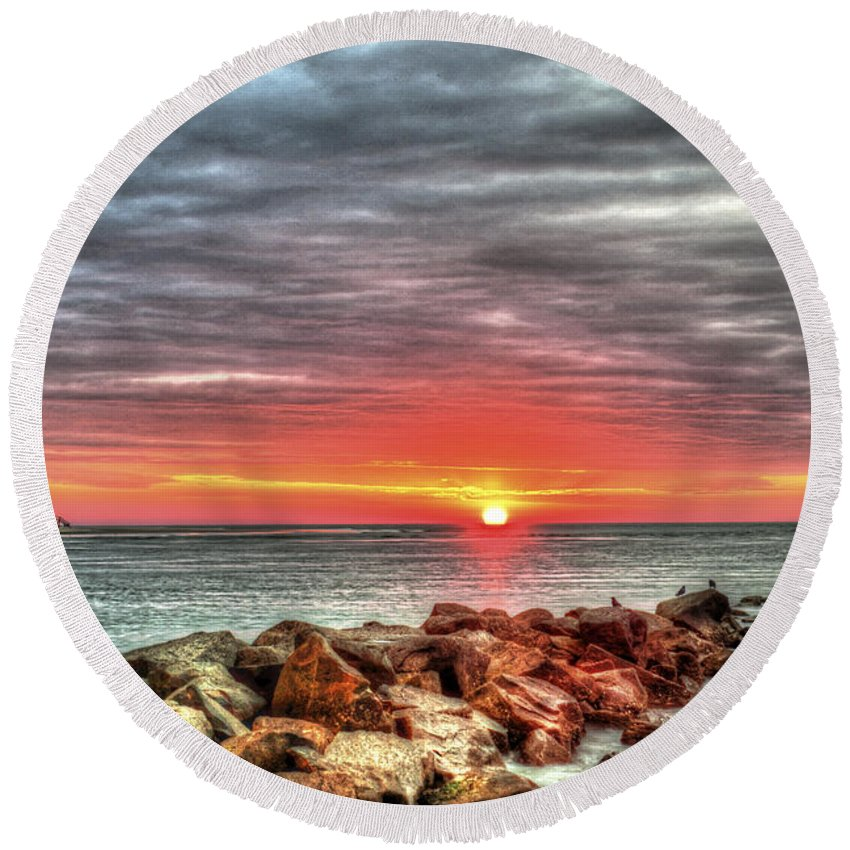 Sunrise Round Beach Towel featuring the photograph Sunrise Over Breech Inlet On Sullivan's Island Sc by Dale Powell