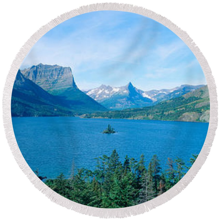Photography Round Beach Towel featuring the photograph Sunrise Over St. Mary Lake, Glacier by Panoramic Images
