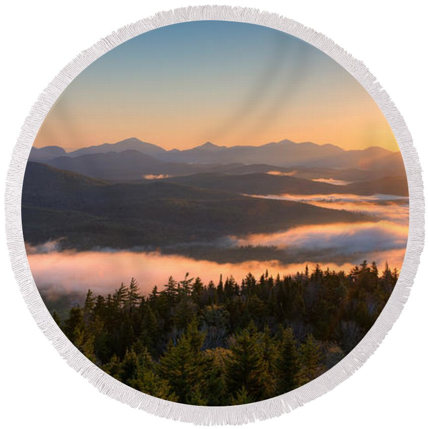 Photography Round Beach Towel featuring the photograph Sunrise Over The Adirondack High Peaks by Panoramic Images