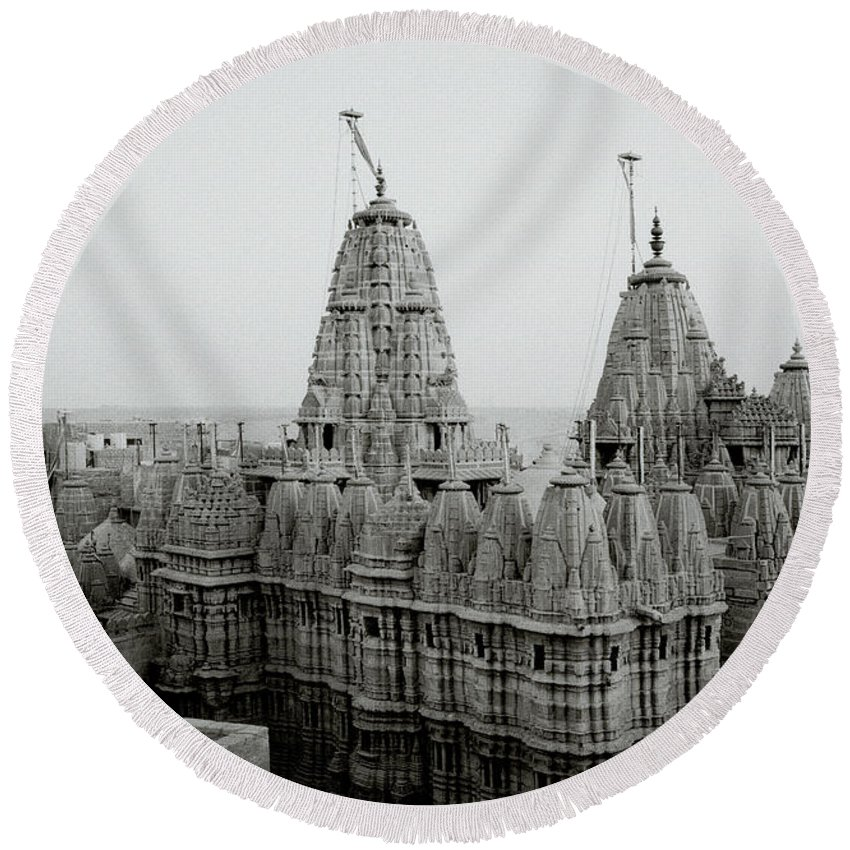 India Round Beach Towel featuring the photograph Sunrise Over The Jain Temples by Shaun Higson