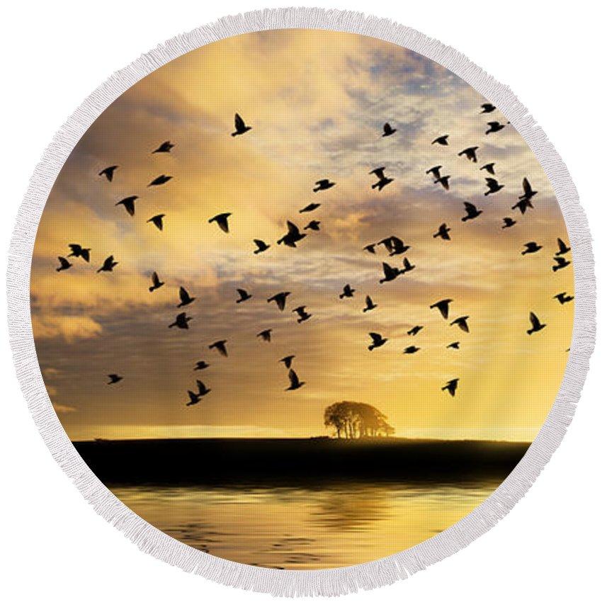Sunrise Round Beach Towel featuring the photograph Birds Awaken At Sunrise by Simon Bratt Photography LRPS