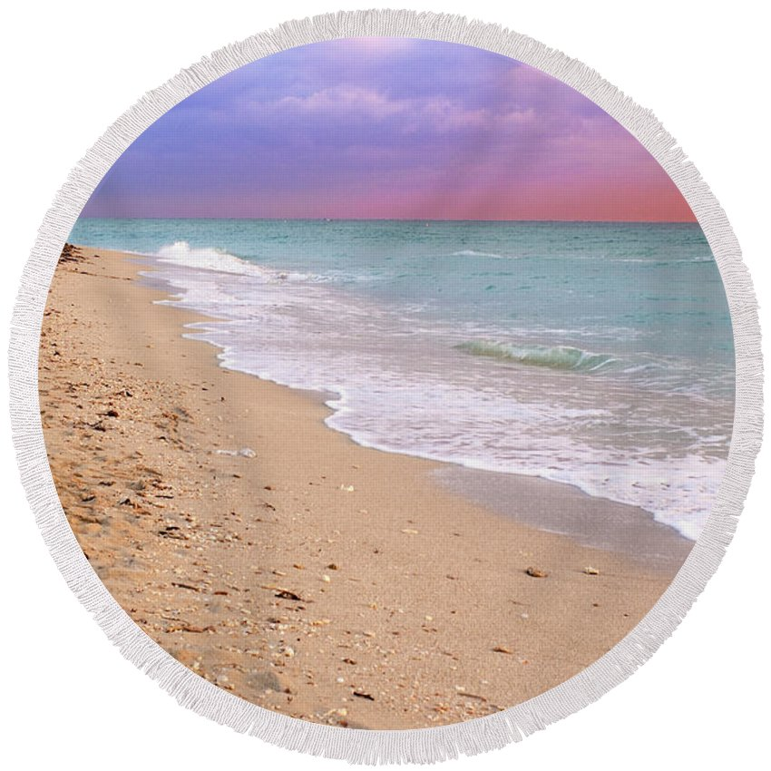 Stock Round Beach Towel featuring the photograph Sunrise Surf At Miami Beach by Thomas Levine