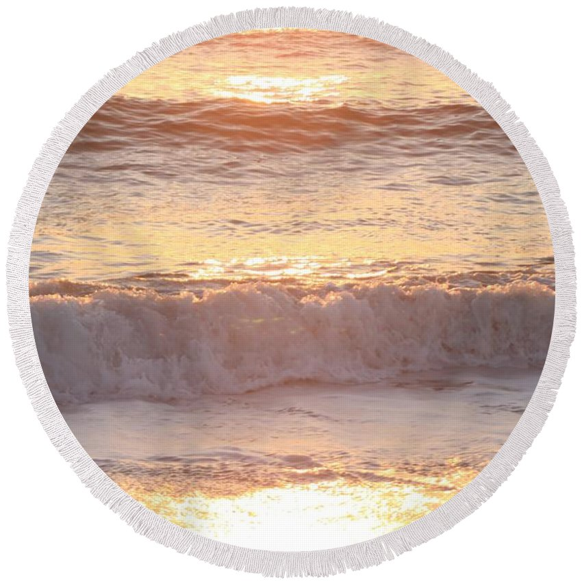 Waves Round Beach Towel featuring the photograph Sunrise Waves by Nadine Rippelmeyer