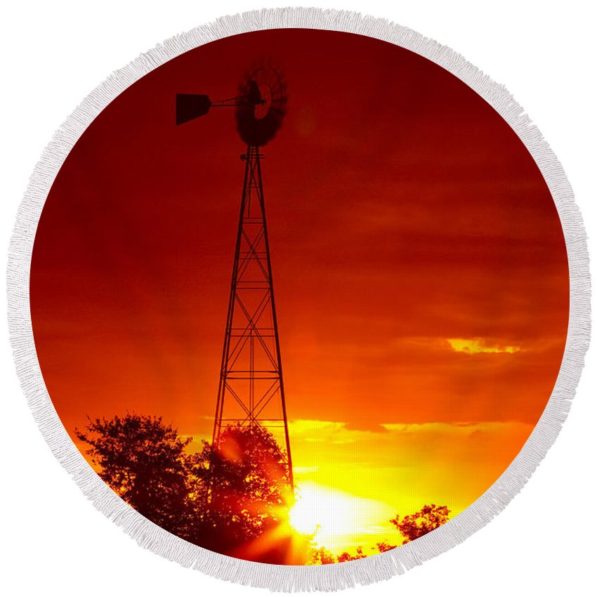 Windmill Round Beach Towel featuring the photograph Sunrise Windmill 1 A by John Brueske