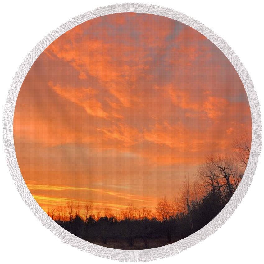 Sunrise Round Beach Towel featuring the photograph Sunrise With Horses by Valerie Kirkwood