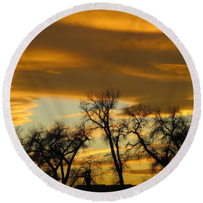 Sunset Round Beach Towel featuring the photograph Sunset 7 by Becca Buecher