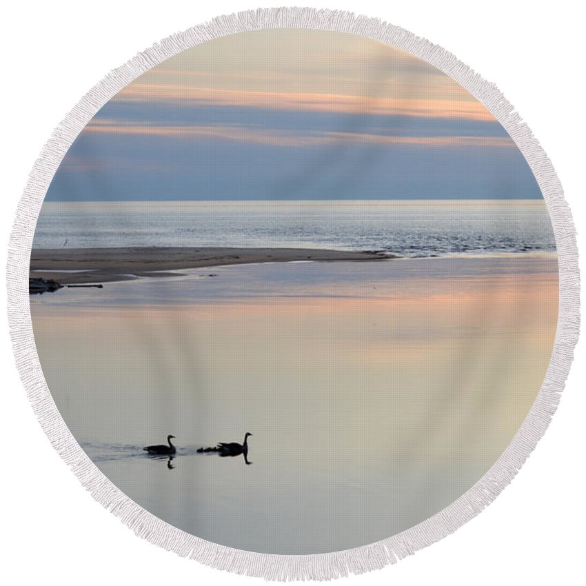 Ludington Round Beach Towel featuring the photograph Sunset And Geese by Linda Kerkau