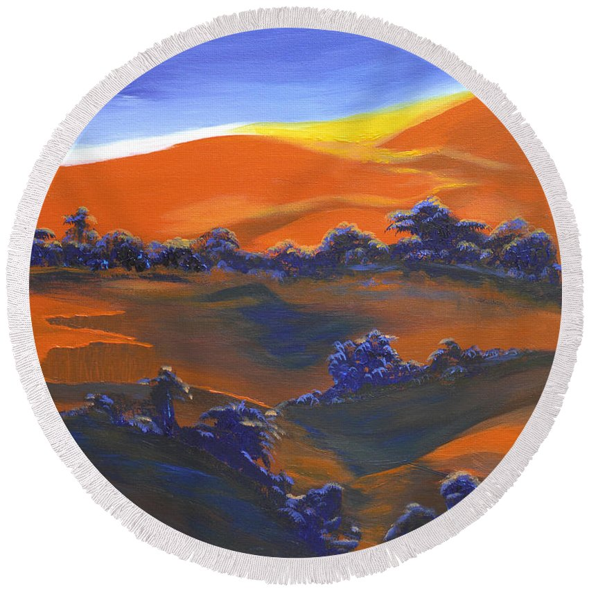 Sunset Round Beach Towel featuring the painting Sunset And Shadow by Donna Blackhall
