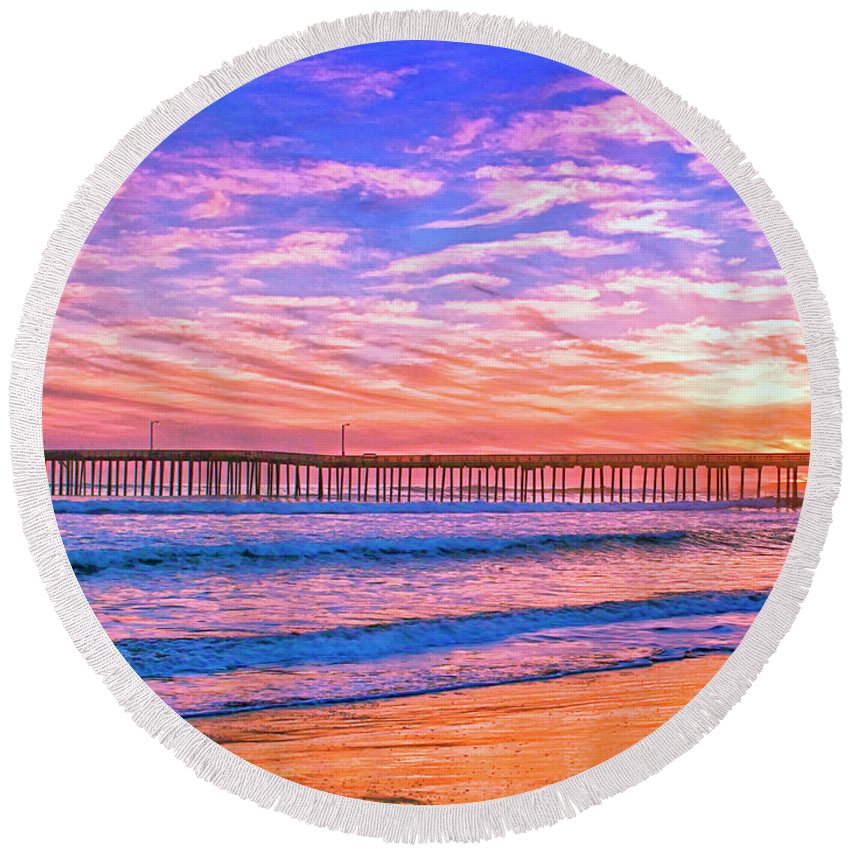 Sunset At Cayucos Pier Round Beach Towel featuring the mixed media Sunset At Cayucos Pier by Dominic Piperata