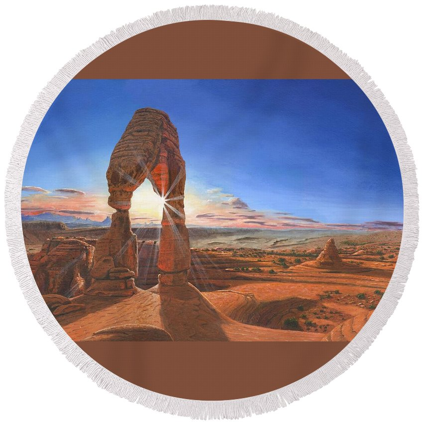 Delicate Arch Round Beach Towel featuring the painting Sunset At Delicate Arch Utah by Richard Harpum
