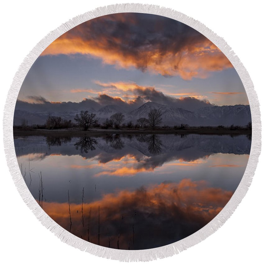 Clouds Round Beach Towel featuring the photograph Sunset At Farmer's Pond by Cat Connor