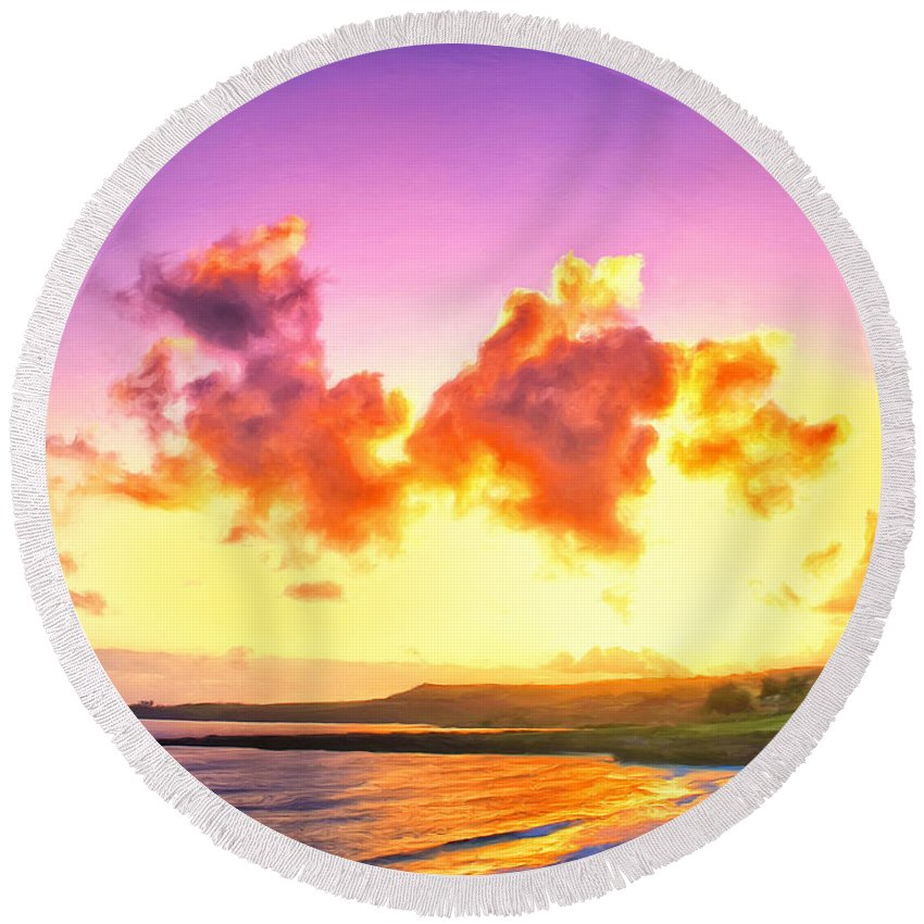 Hawaii Round Beach Towel featuring the painting Sunset At Oneloa Beach Maui by Dominic Piperata
