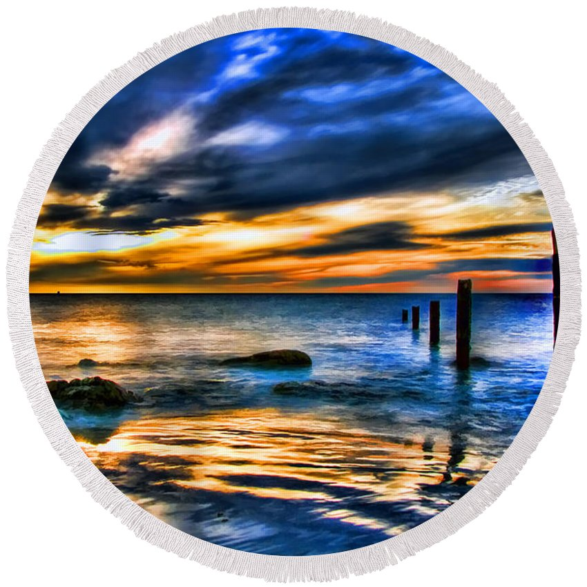 Sunset Round Beach Towel featuring the painting Sunset At Washed Out Pier by Elaine Plesser