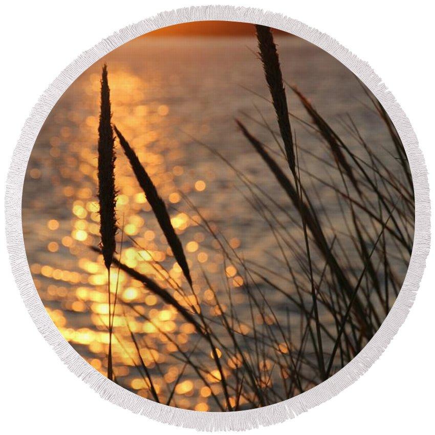 Sunset Round Beach Towel featuring the photograph Sunset Beach by Athena Mckinzie