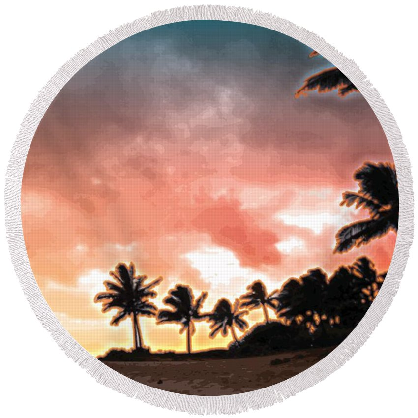 Abstract Round Beach Towel featuring the digital art Sunset Beach by James Kramer