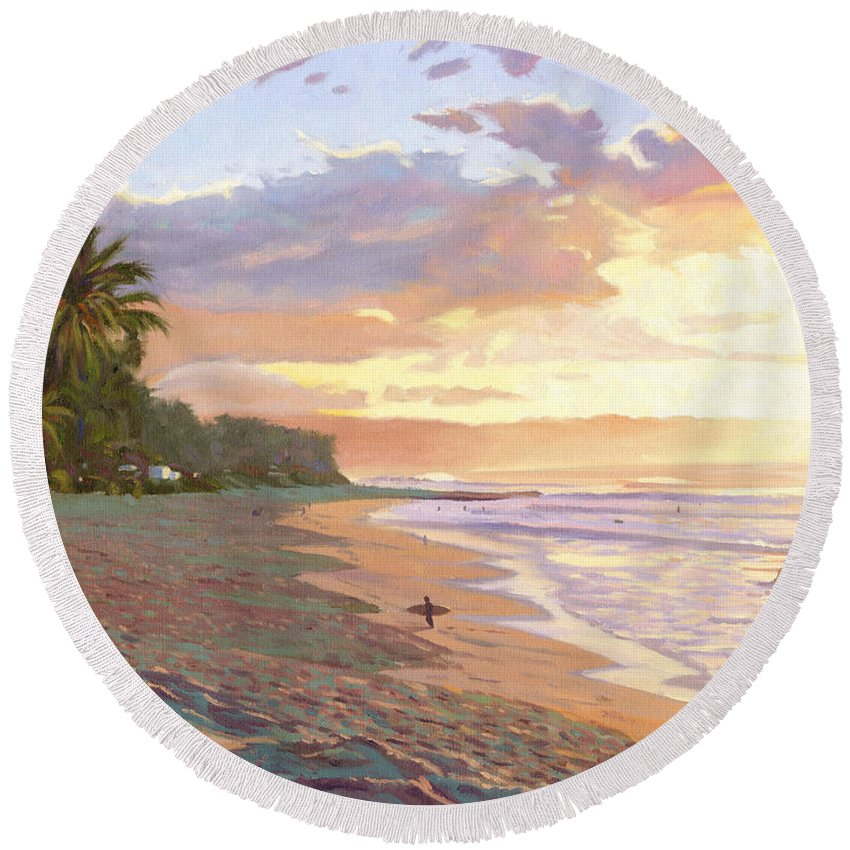 Sunset Beach Round Beach Towel featuring the painting Sunset Beach - Oahu by Steve Simon