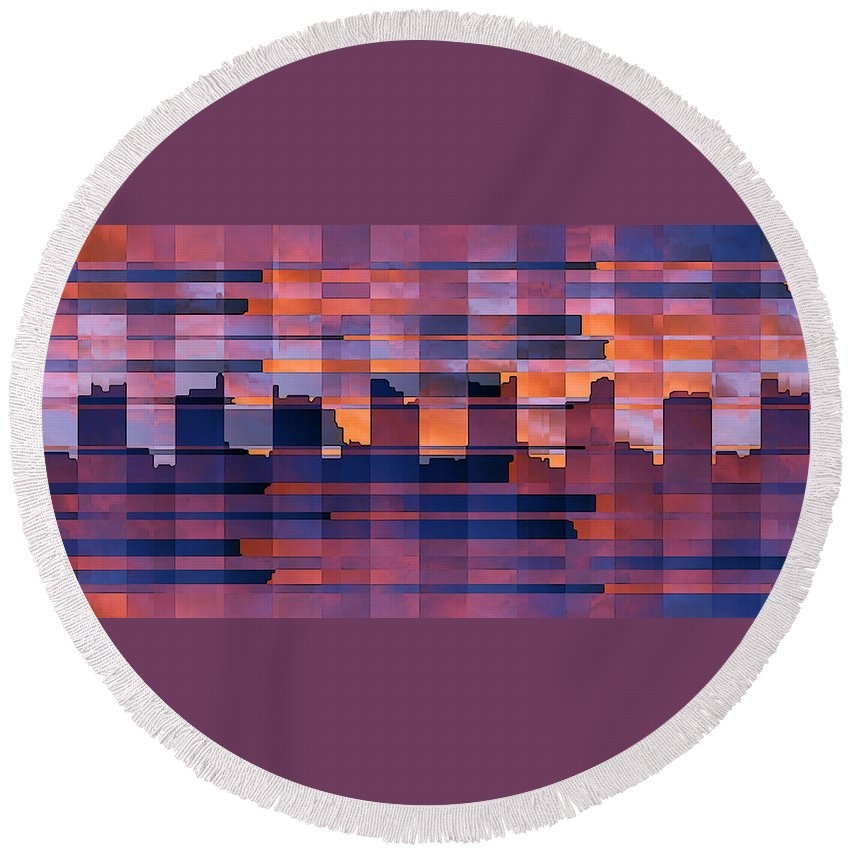 Abstract Cityscape Round Beach Towel featuring the digital art Sunset City by Ben and Raisa Gertsberg