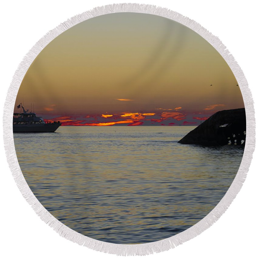 Sunset Round Beach Towel featuring the photograph Sunset Cruise At Cape May by Bill Cannon