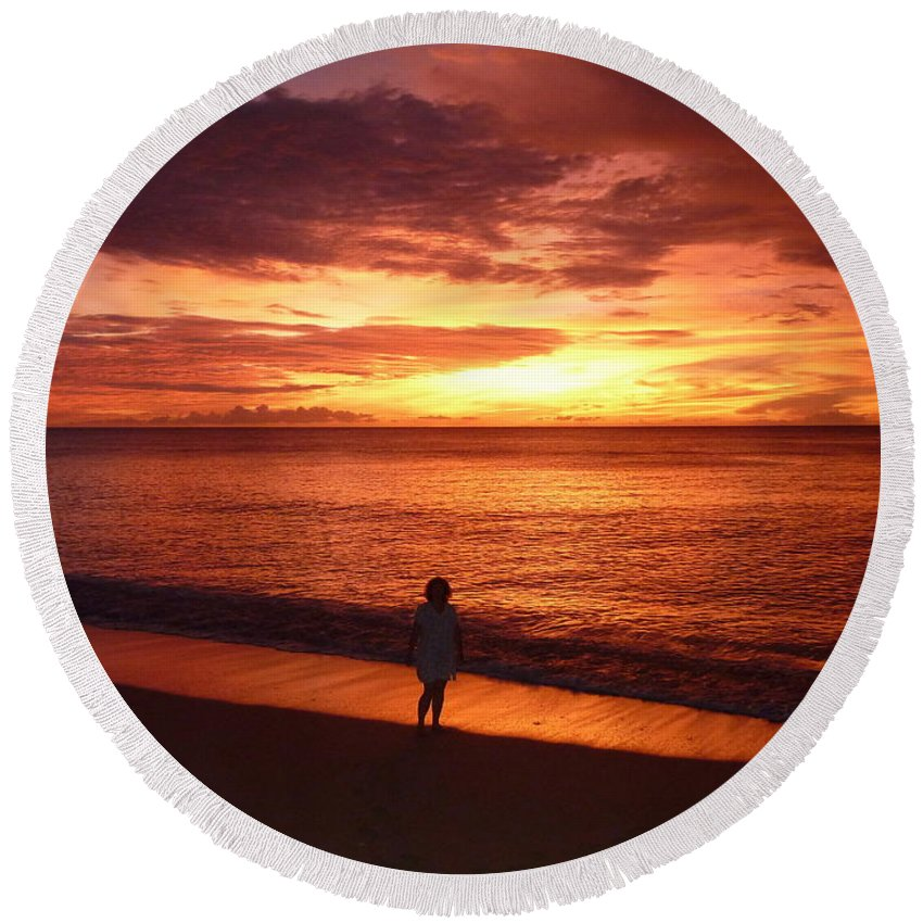 Barbados Round Beach Towel featuring the photograph Barbados Sunset by Diane Palmer