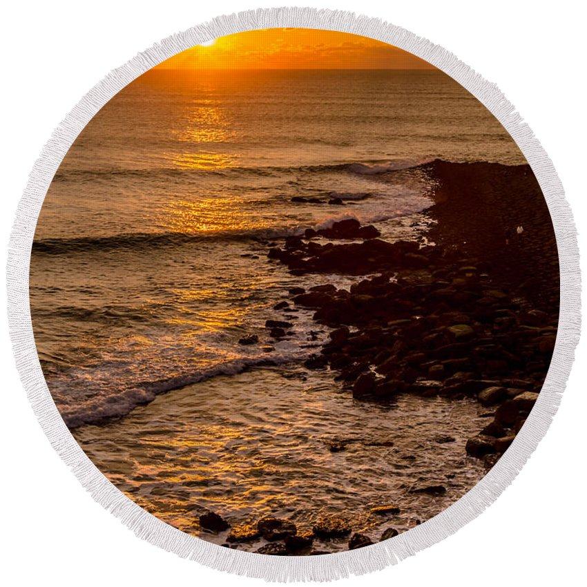 Sunset Round Beach Towel featuring the photograph Sunset Far Away by Alexandre Martins