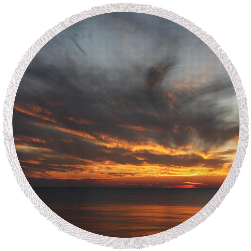 Sunset Round Beach Towel featuring the photograph Sunset Fiery Sky by Christiane Schulze Art And Photography