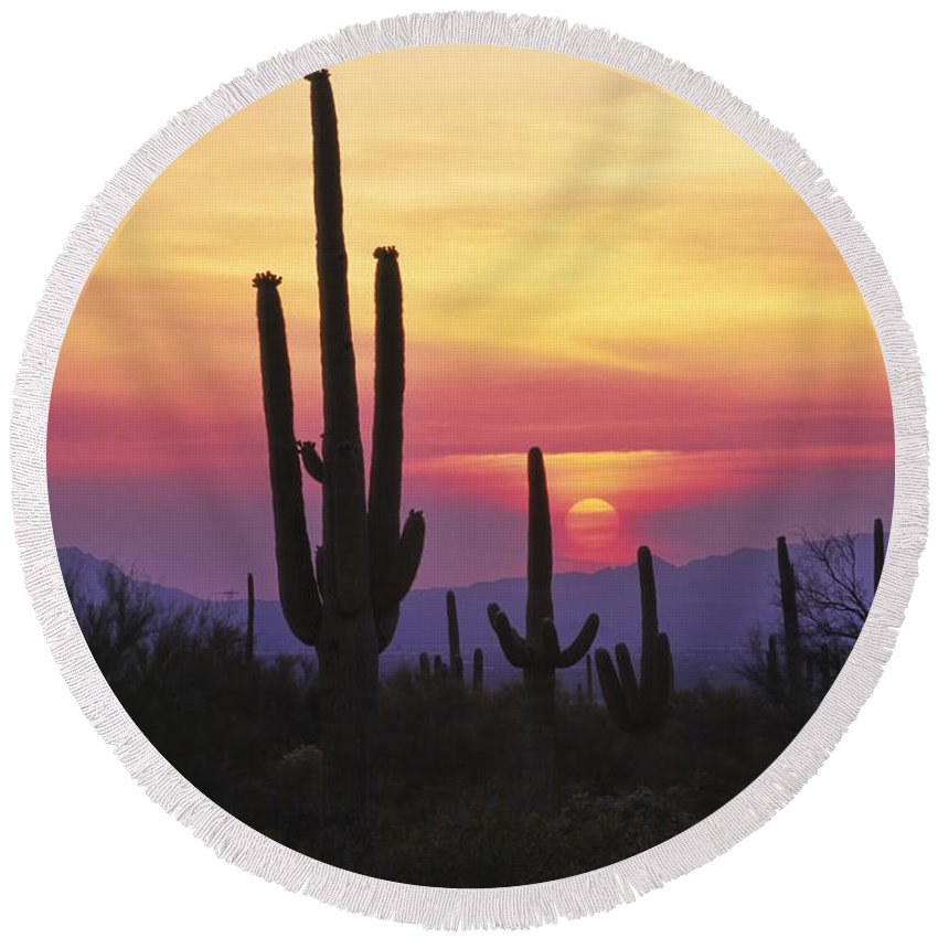Southwest Round Beach Towel featuring the photograph Sunset Glory by Sandra Bronstein