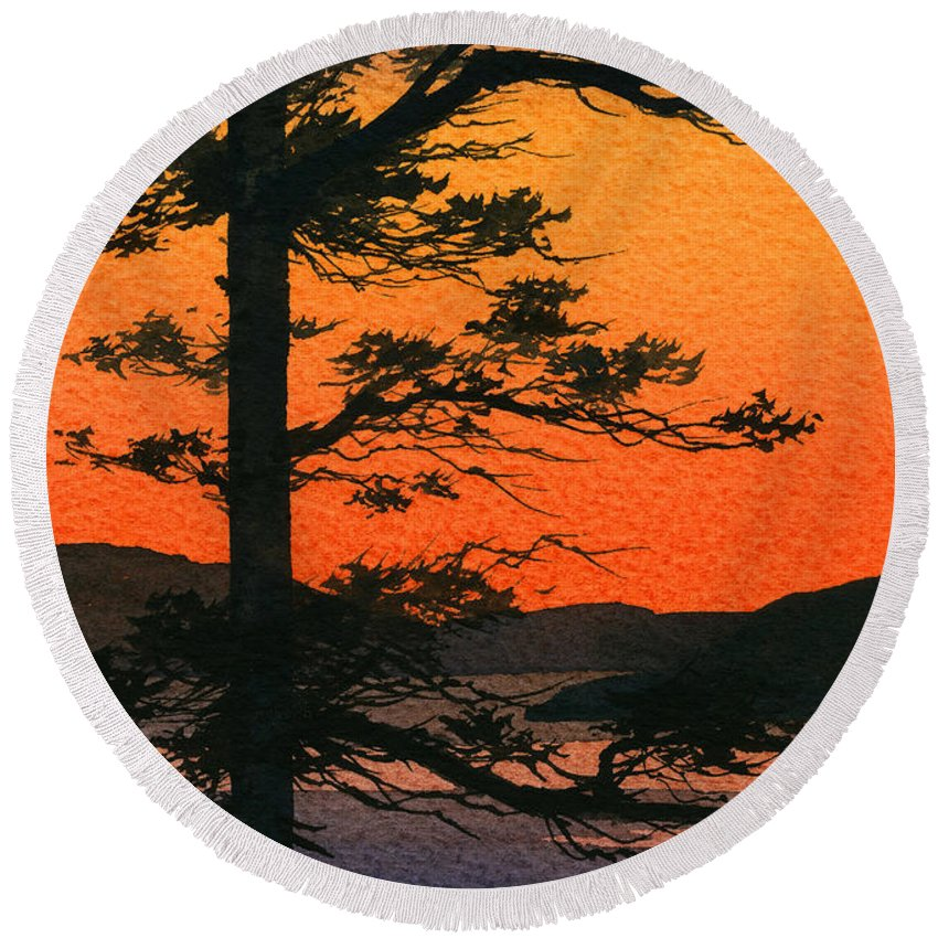 Landscape Fine Art Print Round Beach Towel featuring the painting Sunset Glow by James Williamson