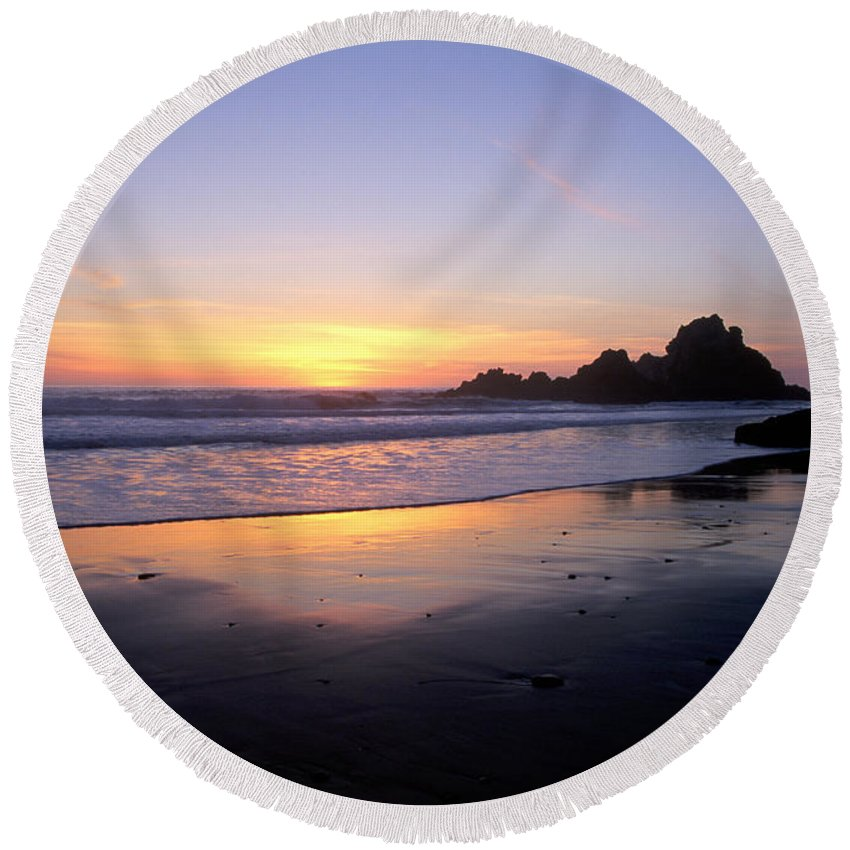 Pfeiffer Beach Round Beach Towel featuring the photograph Sunset Gold Big Sur by Charlene Mitchell