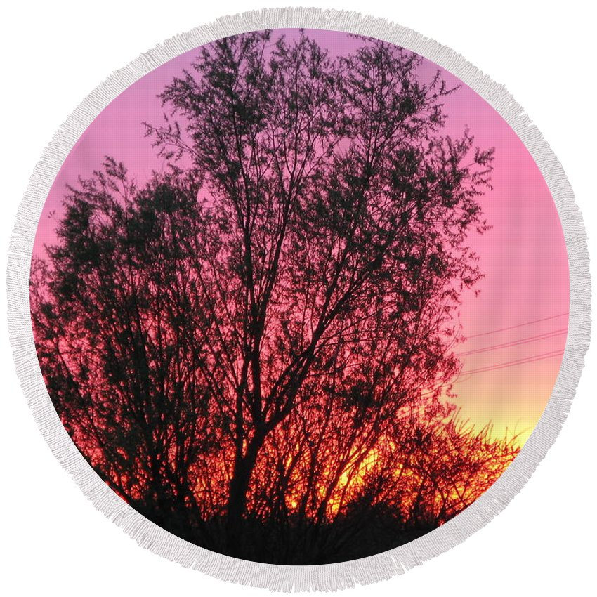 Sunset Round Beach Towel featuring the photograph Sunset In April- Silute Lithuania by Ausra Huntington nee Paulauskaite