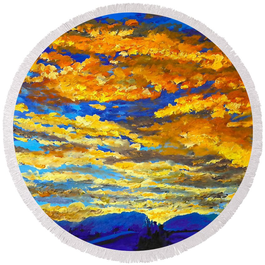 Sunset Round Beach Towel featuring the painting Sunset In Colorado by Francesca Kee