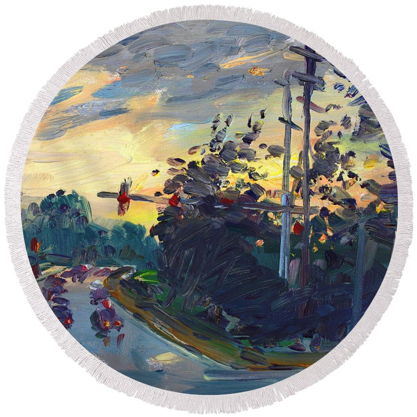 Sunset Round Beach Towel featuring the painting Sunset In Military Highway Norfolk Va by Ylli Haruni