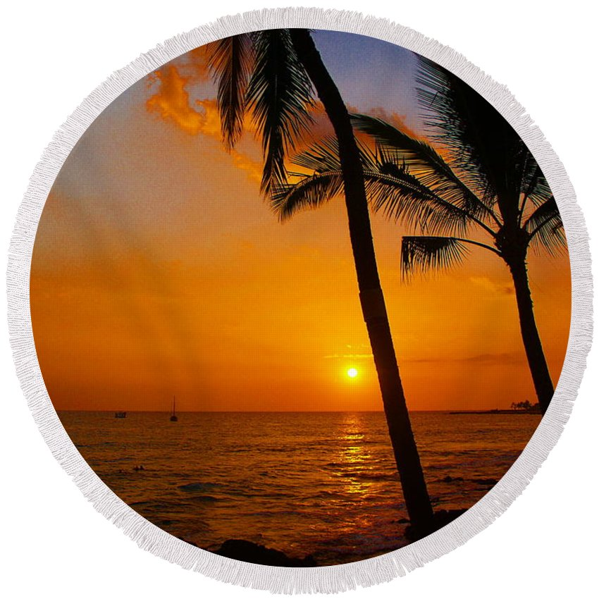 Sunset Round Beach Towel featuring the photograph Sunset In Paradise by Athala Carole Bruckner