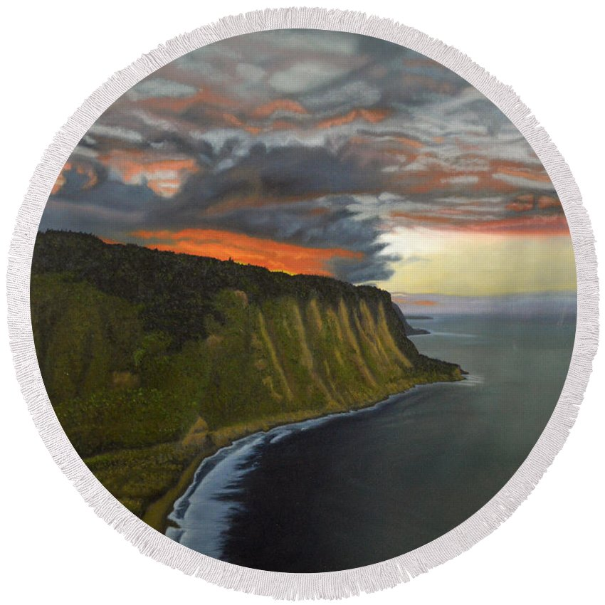 Waipio Lookout Round Beach Towel featuring the painting Sunset In Paradise by Thu Nguyen