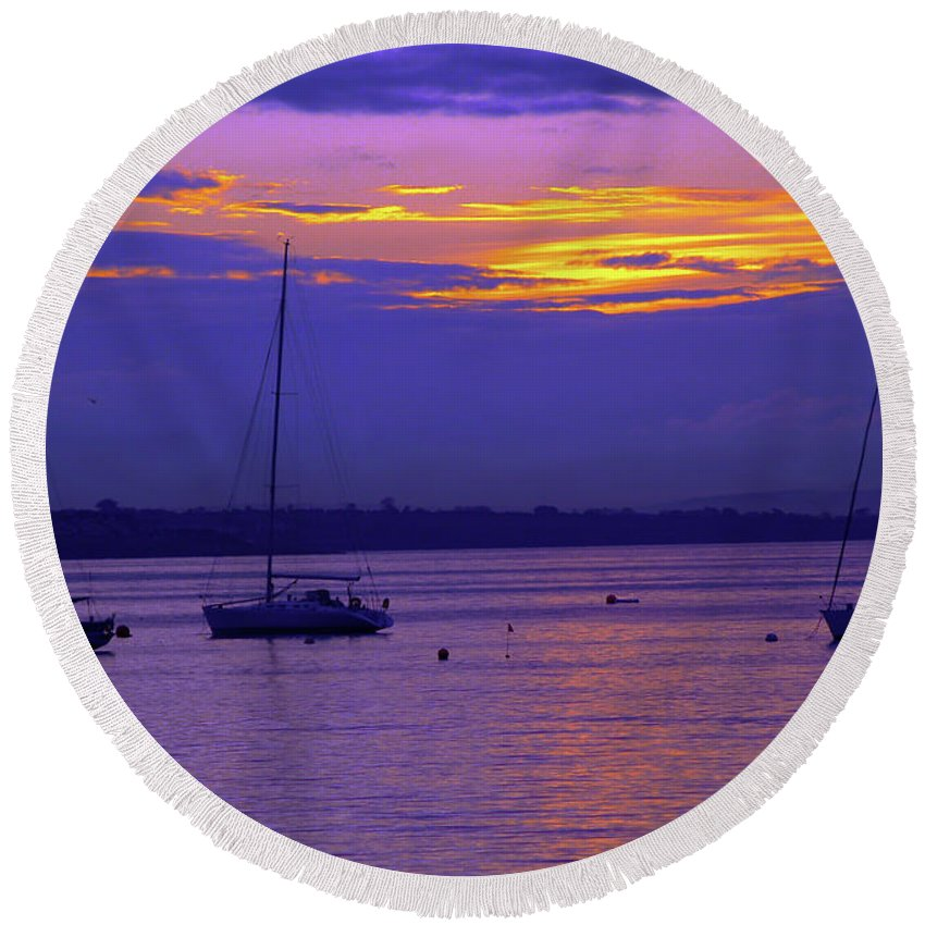 Fine Art Photography Round Beach Towel featuring the photograph Sunset In Skerries Harbor by Patricia Griffin Brett