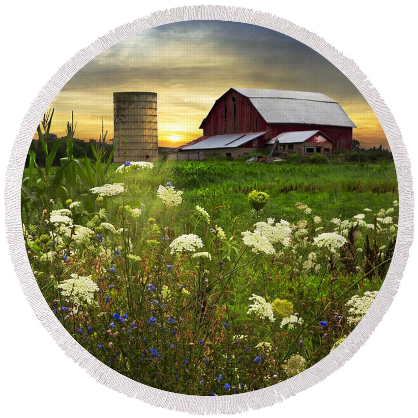 Appalachia Round Beach Towel featuring the photograph Sunset Lace Pastures by Debra and Dave Vanderlaan