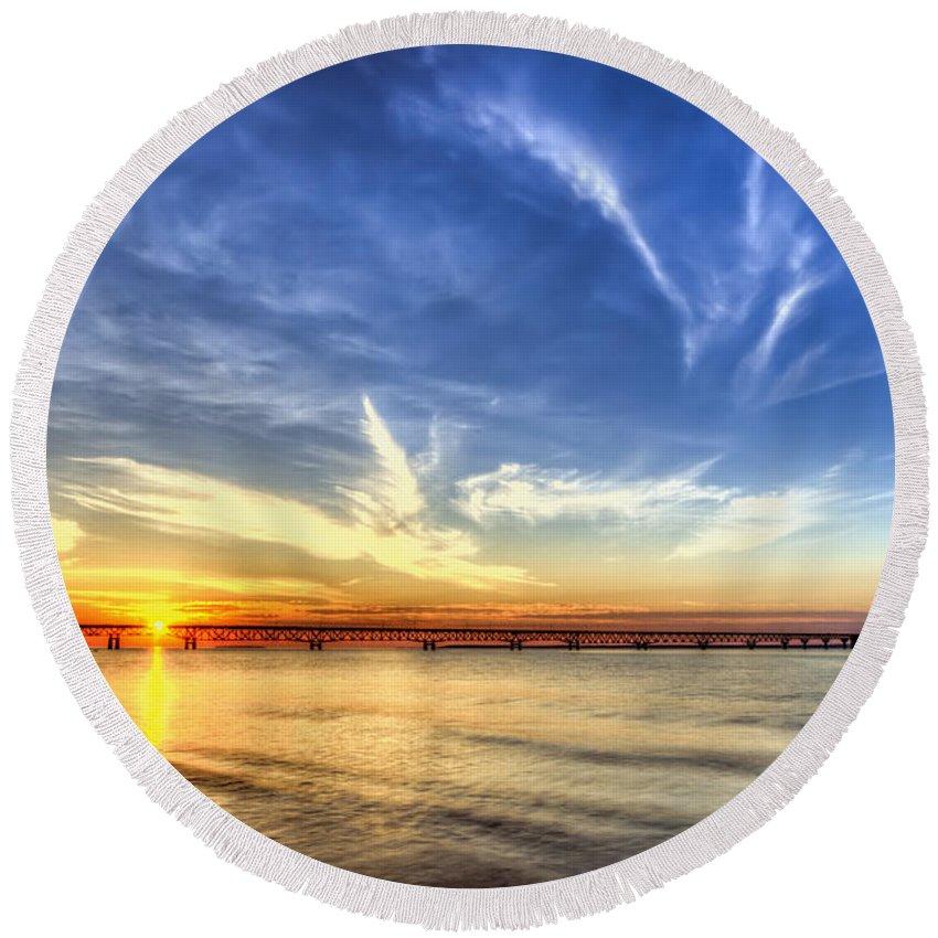 Michigan Round Beach Towel featuring the photograph Sunset Mackinac Bridge by Scott Wood