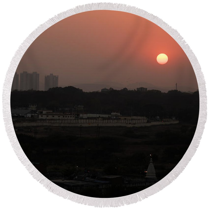 Sunset Round Beach Towel featuring the photograph West Skyline Of Pune by Kiran Joshi