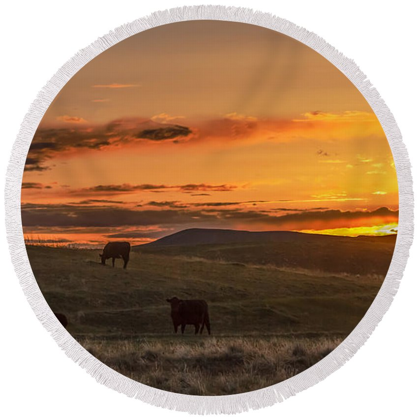 Range Round Beach Towel featuring the photograph Sunset On Open Range by Robert Bales