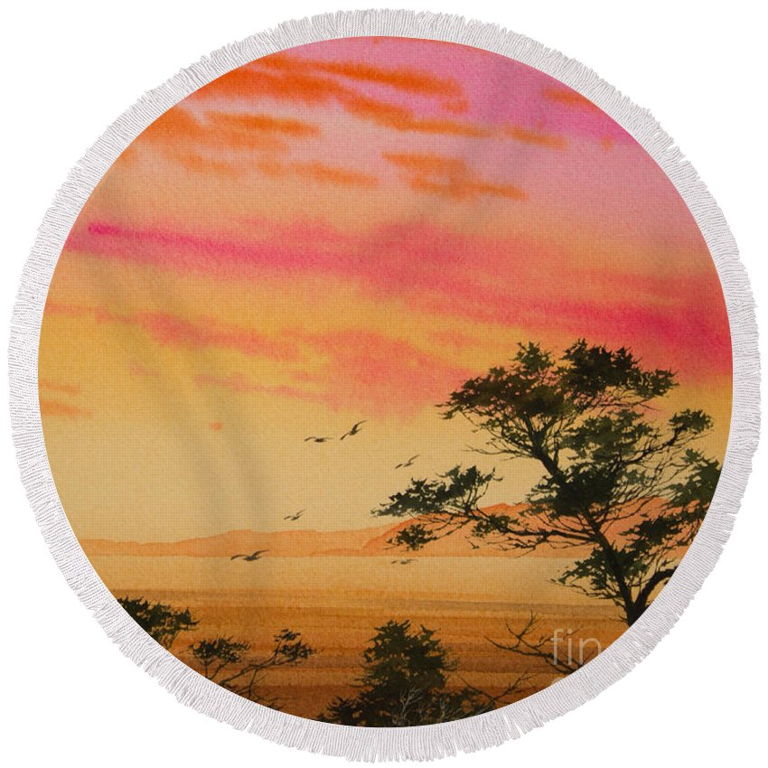Sunset Print Round Beach Towel featuring the painting Sunset On The Coast by James Williamson
