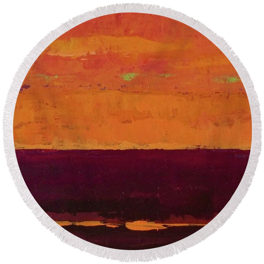 Landscapes Round Beach Towel featuring the painting Sunset On The Pier by Gail Kent