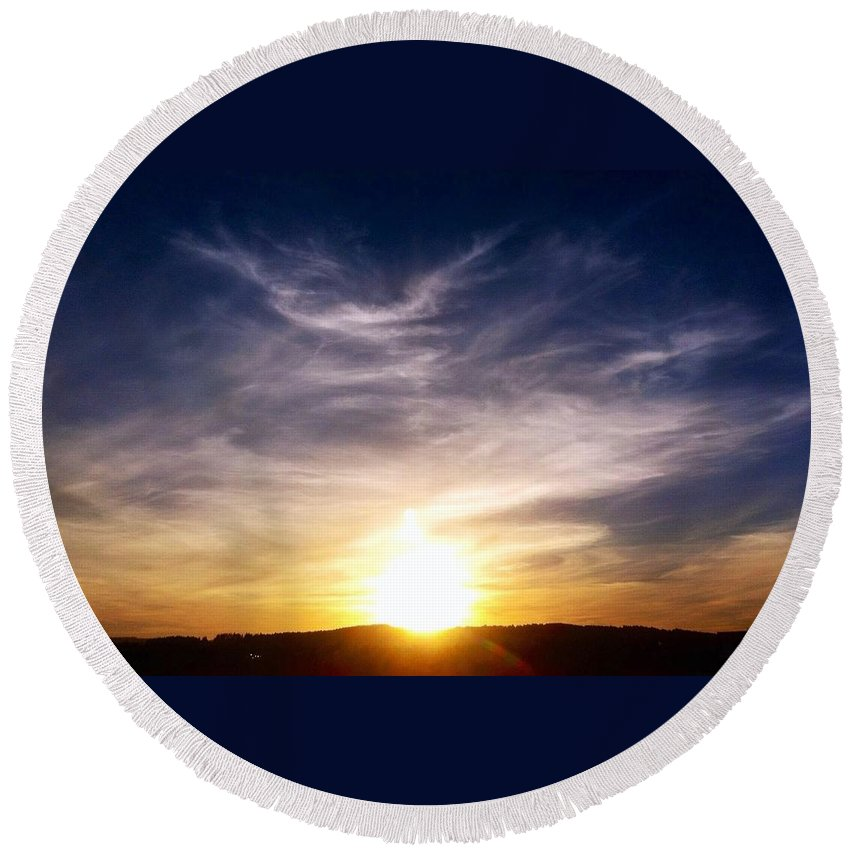 Sunset Round Beach Towel featuring the photograph Sunset Over Hills With Clouds by Susan Garren