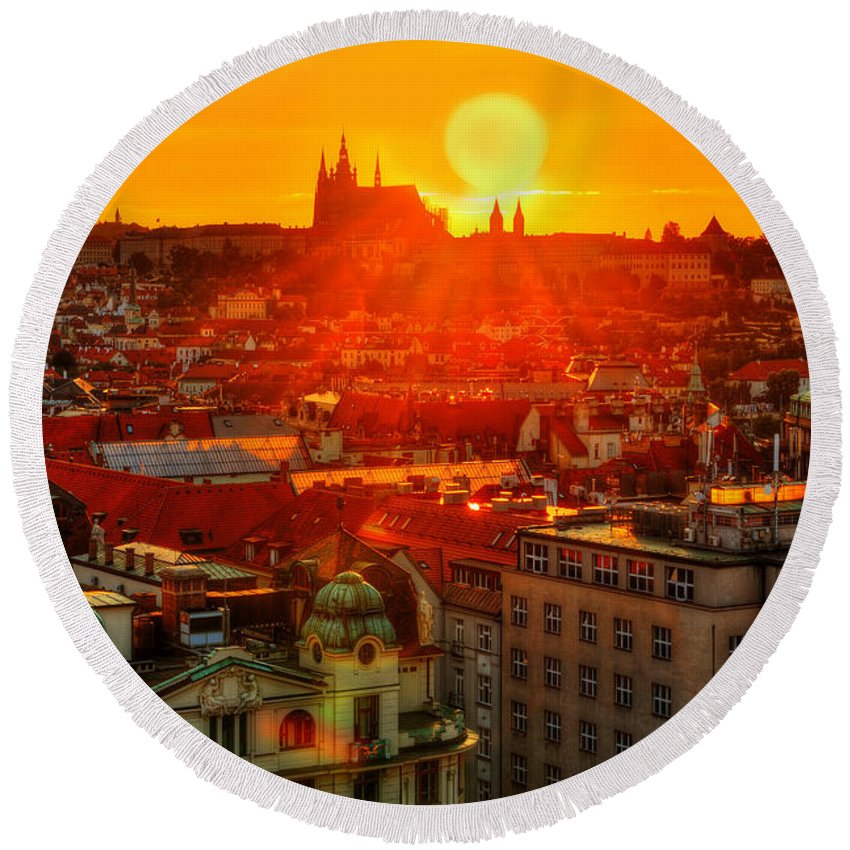 Prague Round Beach Towel featuring the photograph Sunset Over Prague by Midori Chan