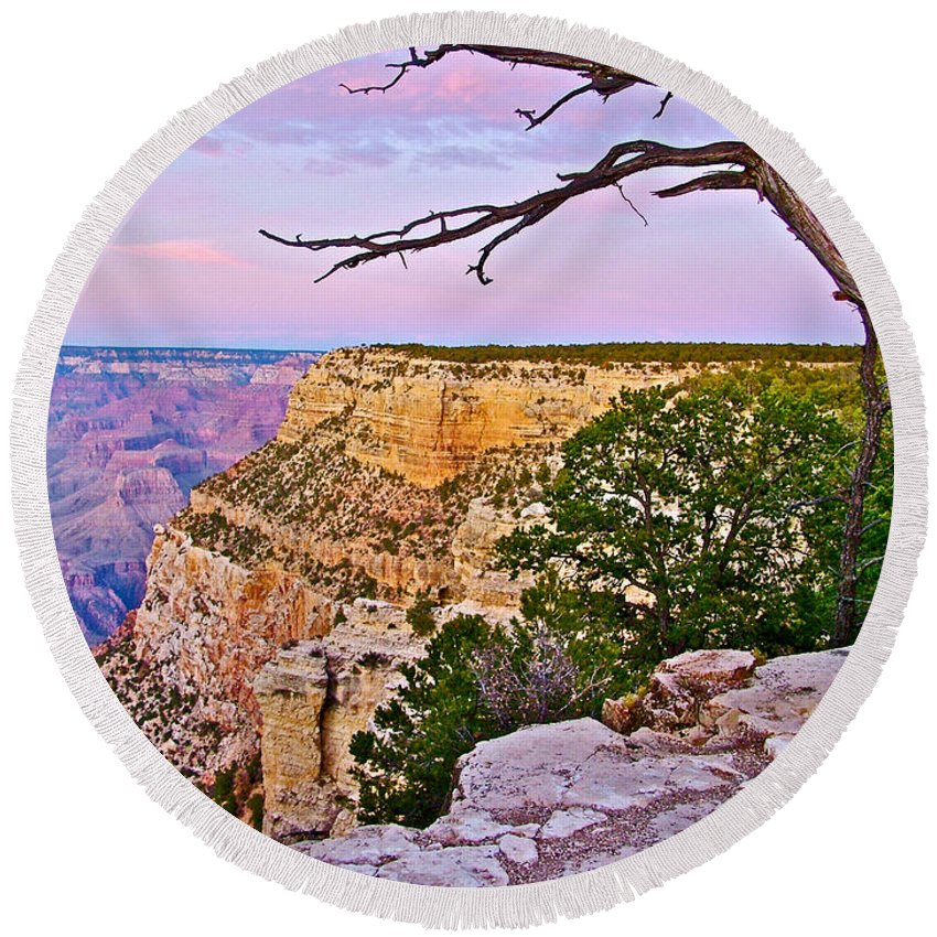 Sunset Over The Grand Canyon From South Rim Trail In Grand Canyon National Park Round Beach Towel featuring the photograph Sunset Over The Grand Canyon From South Rim Trail In Grand Canyon National Park-arizona  by Ruth Hager