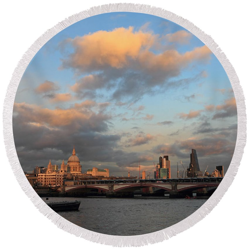 Round Beach Towel featuring the photograph Sunset Over The River Thames London by Julia Gavin